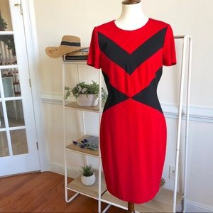 Vince Camuto red and black A-line dress size 8